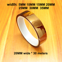 30M polyimide tape high temperature adhesive tape gold finger brown high temperature insulation tape for 3D printer 0 06mm thick 110mm 20m high temperature resist esd one side adhension tape polyimide film for motor insulation