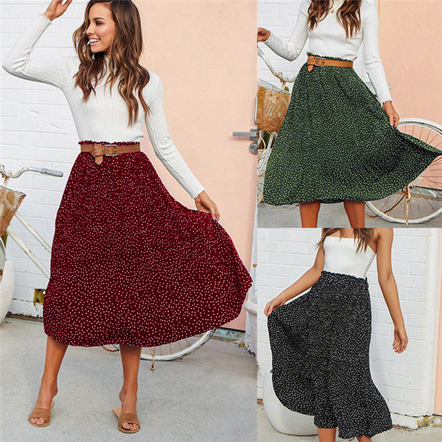 bc9b53829 Fashion Vintage Skirt Women Pleated Skirt 2019 Spring Autumn Long Elastic  Waist Female Elegant Dot Print