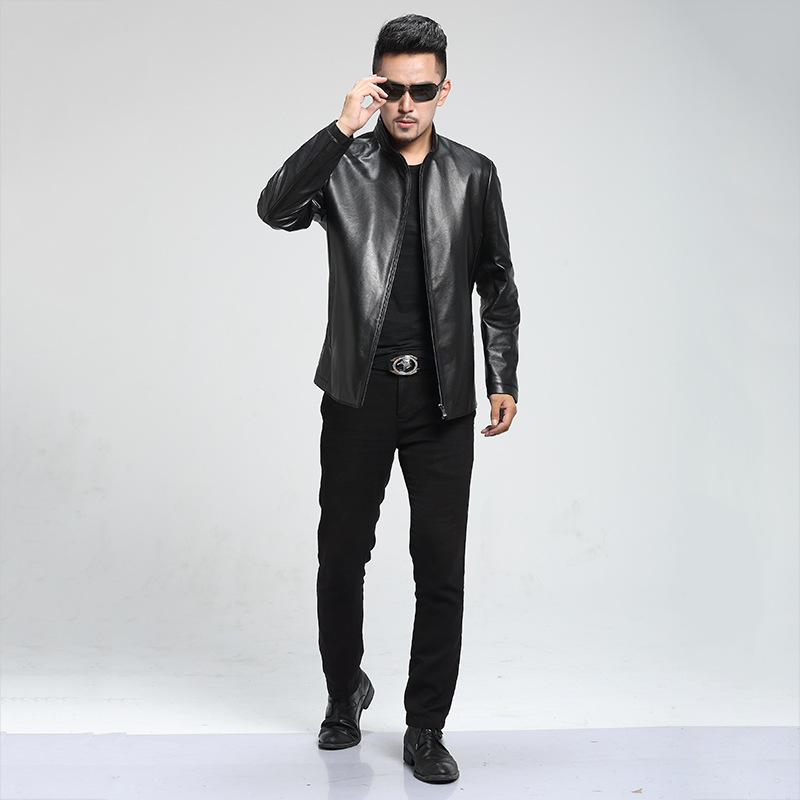 2018 Spring Autumn Brand Goat Composite Leather Jacket Slim Pure Color Leather Coat Men Casual Leather Jacket Free Shipping