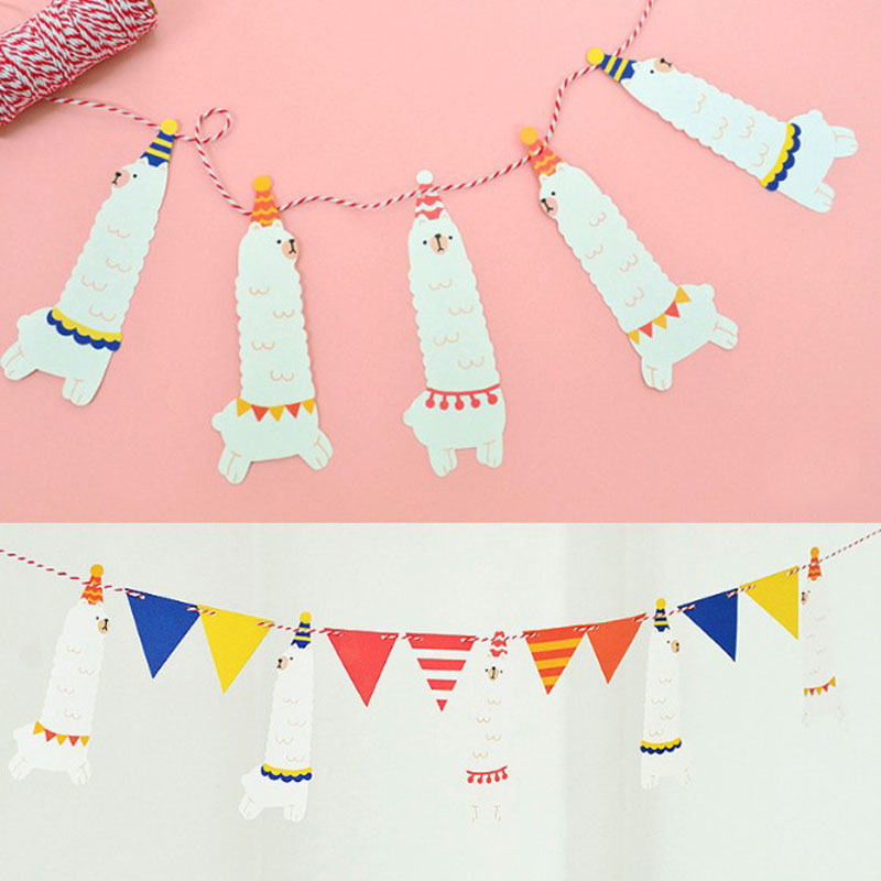 1 Set Cute Funny Party Banner Alpaca Flags Per Bunting Kawaii Party Favors kids boy Happy Birthday Wedding Decoration