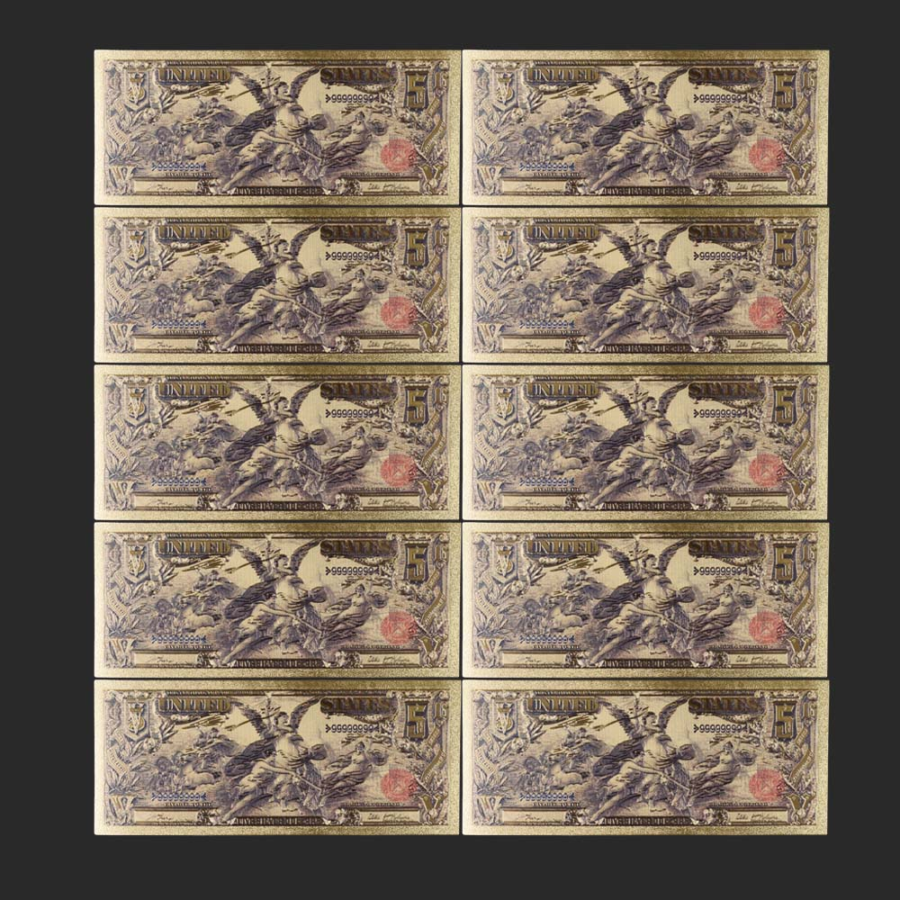 10pcs/lot 1896 Year Colorful USA Banknotes <font><b>5</b></font> <font><b>Dollar</b></font> <font><b>Bill</b></font> Banknotes In 24K Gold Plated Fake Money Beautiful Decor image