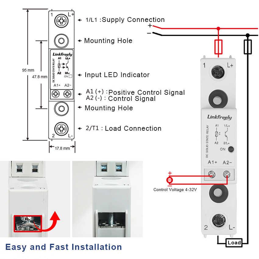 TRD060D25 Miniatur Smart SSR Solid State Relay Modul & Papan DC DC 25A 1-60VDC 5V 12V 24V 32VDC Di Power Relay Switch