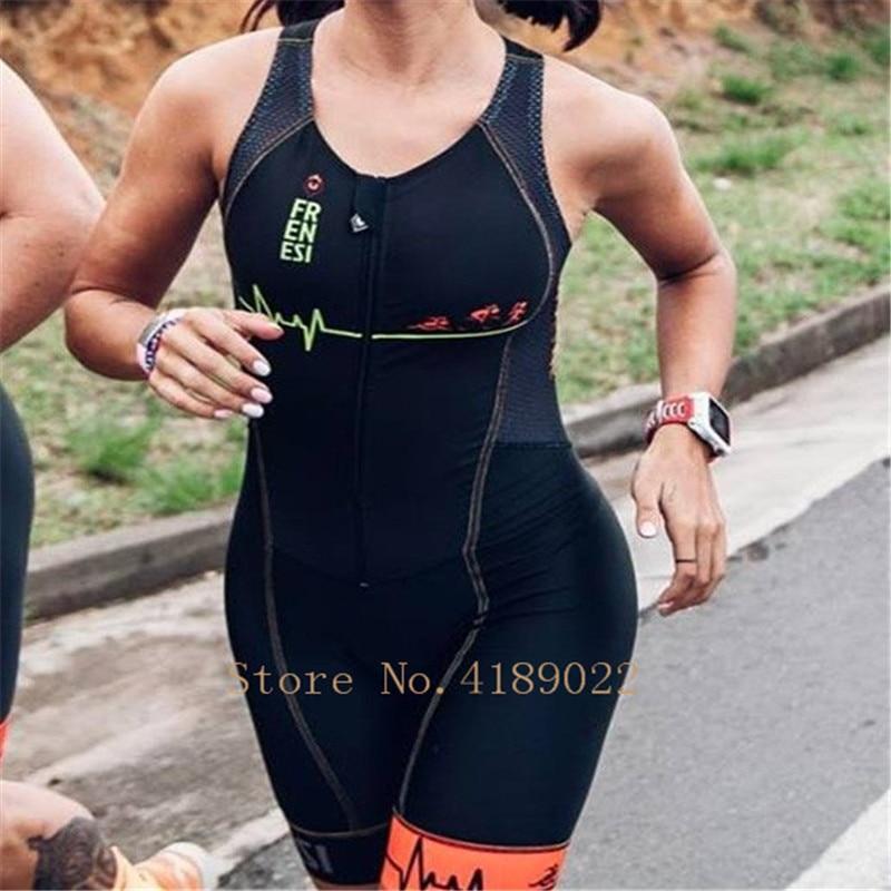 2019 Frenesi Vrouwen haute qualité triathlon petites bretelles skinsuit équitation pro équipe Ciclismo cyclisme collants ski costume