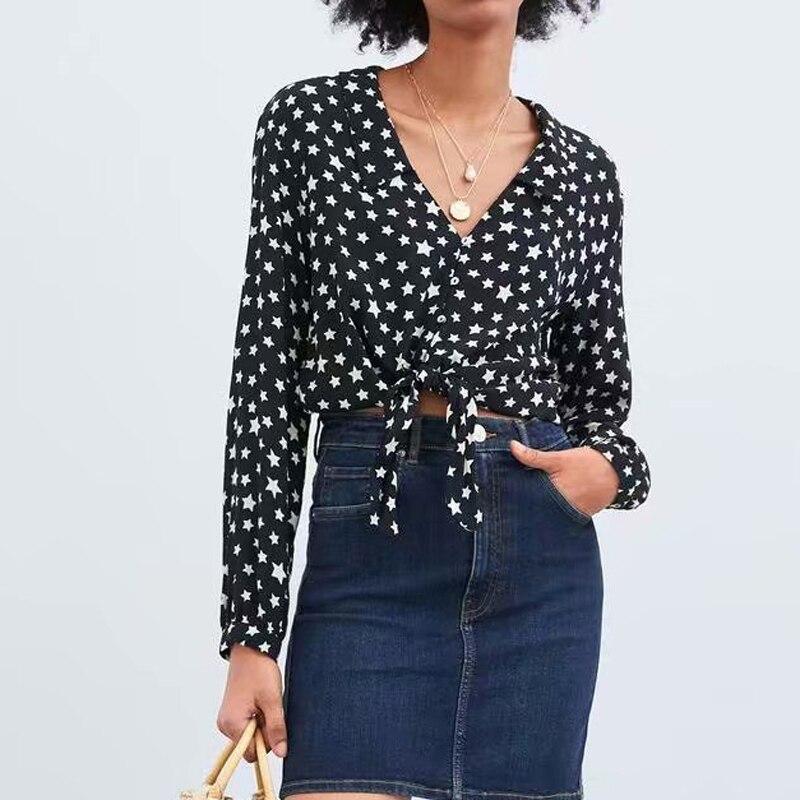 Vintage Women Deep V neck Long Sleeve Top Shirt French Ladies Navy Women Bow Hemline Design Loose Spring Star Printed Shirt