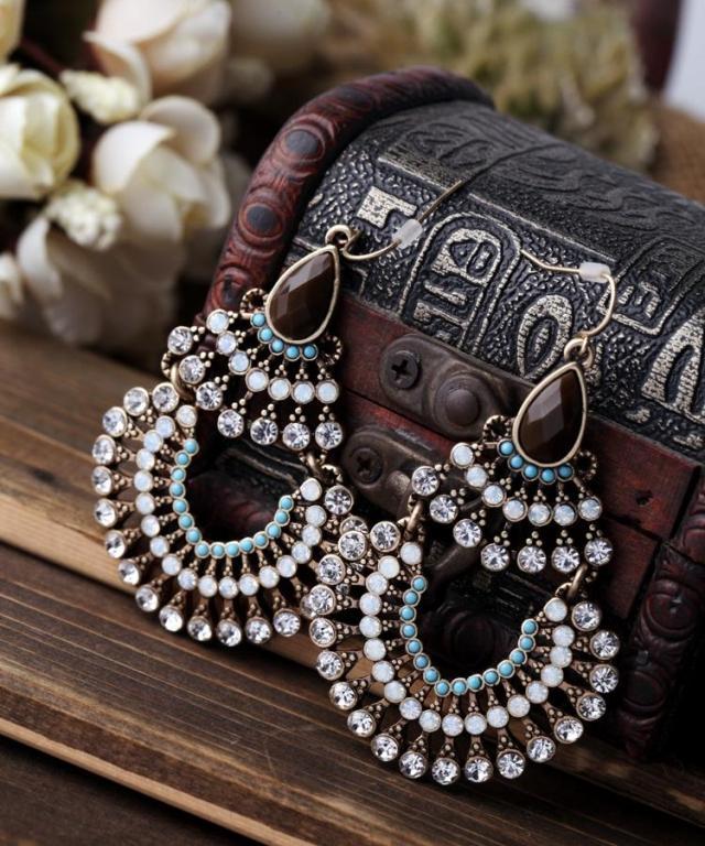 Bohemian style retro vintage drop blue beads long earrings fashion jewelry big fan shape pendientes largos mujer ethnic jewelry