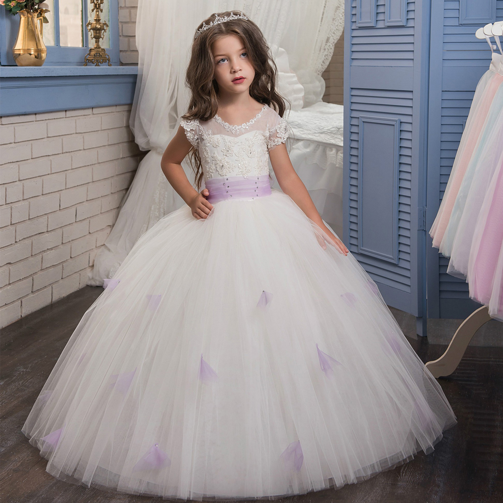 2017 New Flower Girl Dresses O-neck Short Sleeves Ball Gown Appliques Lace Up Pageant Birthday Gown Vestidos Longo Custom Make 2017 new flower girl dresses lace up appliques o neck short sleeves lace up first communion birthday dresses vestidos longo hot