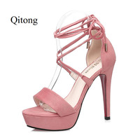 Good Quality Peep Toe Leather Woman Thin High Heel Sandals Women Shoes For Wedding Nightclub And