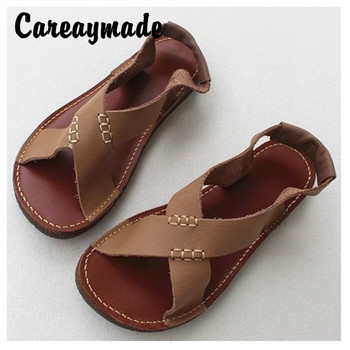 Careaymade-Summer Japanese Sandals Full Leather Cowskin Original Literature and Art Fan Ping Soft Disen Female Wind Sandals