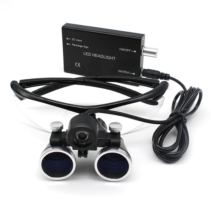 2.5X/3.5X Grossissement Binoculaire Loupe Dentaire Chirurgie Loupe Chirurgicale avec Phare lumière led Opération Médicale Loupe Lampe