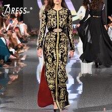 INDRESSME, новинка, женское сексуальное Бандажное платье с вышивкой, цветочный рисунок, длинный рукав, длина по щиколотку, круглый ворот, бодикон, женское модное вечернее платье
