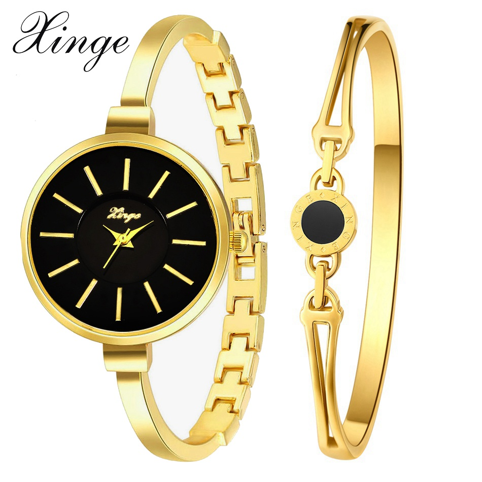 Xinge Brand Fashion Women Watch Set Luxury Gold Crystal Bracelet Quartz Wristwatch 2017 Ladies Casual Dress Designers Clock New xinge brand watch women bracelet rhinestone chain bangles jewelry watch set wristwatch waterproof ladies gold quartz watch