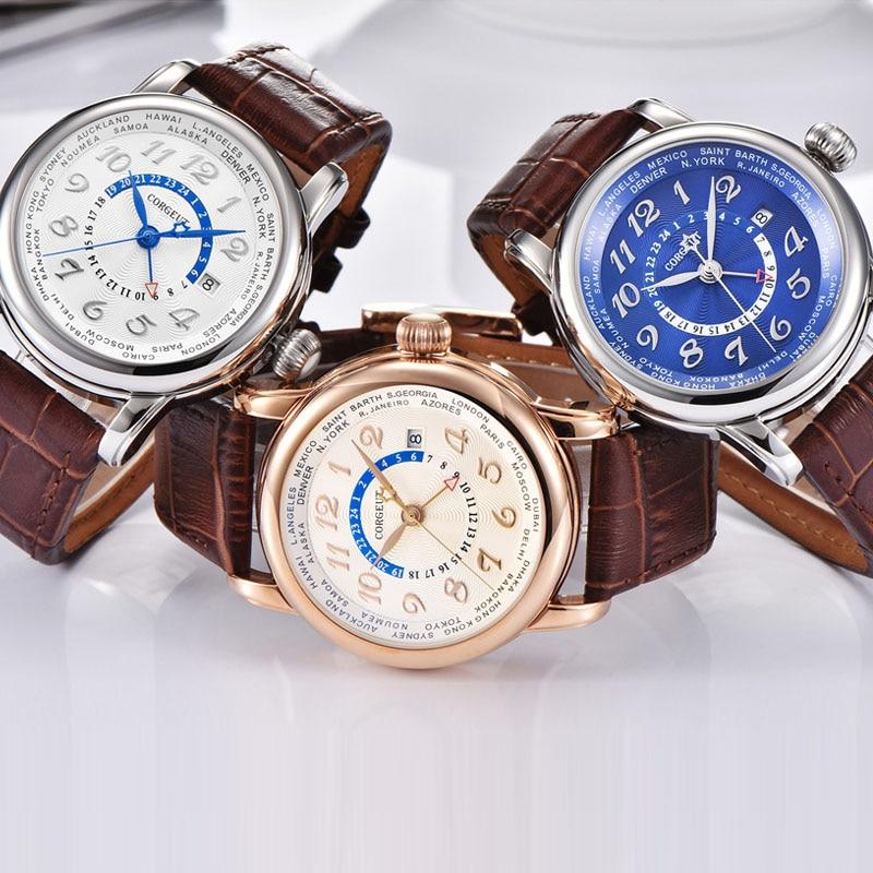 Corgeut 43 mm para hombre reloj mecánico negro / azul marcar GMT - Relojes para hombres