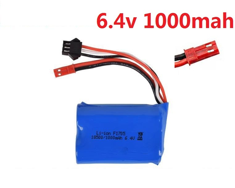 Ewellsold  6.4v 320mah 500mah 750mah 800mah 1000mah Li-ion Battery JST SM 4P Plus/USB Charger For Wltoys Rc Car L959 18628