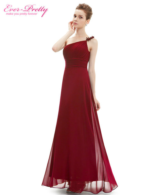 Одно плечо Вечерние платья ep09596 тех Довольно Цветок оборками из шифона Длинные вечерние платья 2017 бордовый вечернее платье vestidos
