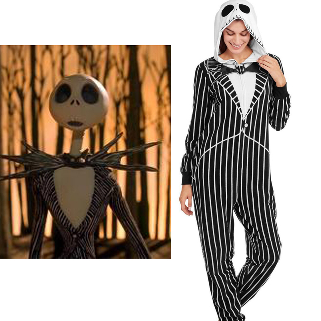 5390b60fcf nightmare before christmas jack adult onesie fleece pajamas halloween night anime  cosplay cartoon