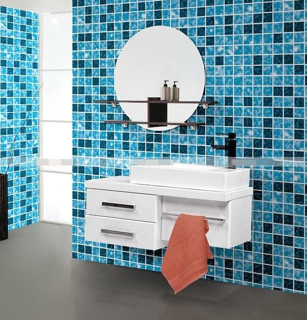 pvc self adhesive mosaic kitchen wall paper, bathroom wallpaper kitchen sticker mosaic wall stickers toilet waterproof self adhesive wallpaper high temperature resistant bathroom tiles wal