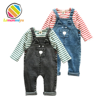 Lemonmiyu 2pcs Jeans Baby Sets Infants Cotton Full Spring Suits Striped Pulllover And Long Pants Animal