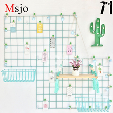 Msjo Ins Hot Metal Mesh Storage Rack Grid Bilder Veggbilder Postkort Holder Iron Storage Hylle DIY Home Bedroom Decoration