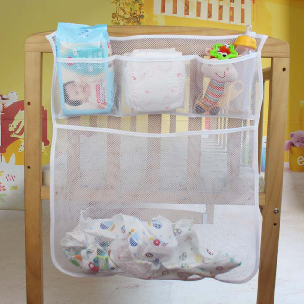 Baby Crib Mesh Bag Newborn Bedside Pouch Bumper Infant Diaper Organizer Pouch Toddler Clothes Container Bedding Accessories
