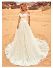 White Lace Wedding Dresses Off The Shoulder Appliques Sexy Up Back Bride Custom made Long Elegant Gowns