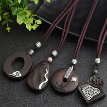 Qilmily Handmade Vintage Ethnic Irregular Sandalwood Pendant Necklaces for Women Inlaid Pearl Alloy Lotus Sweater Chain Gift Hot vintage cross anchor sweater chain for women