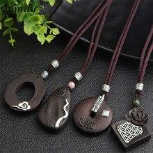 цена на Qilmily Handmade Vintage Ethnic Irregular Sandalwood Pendant Necklaces for Women Inlaid Pearl Alloy Lotus Sweater Chain Gift Hot