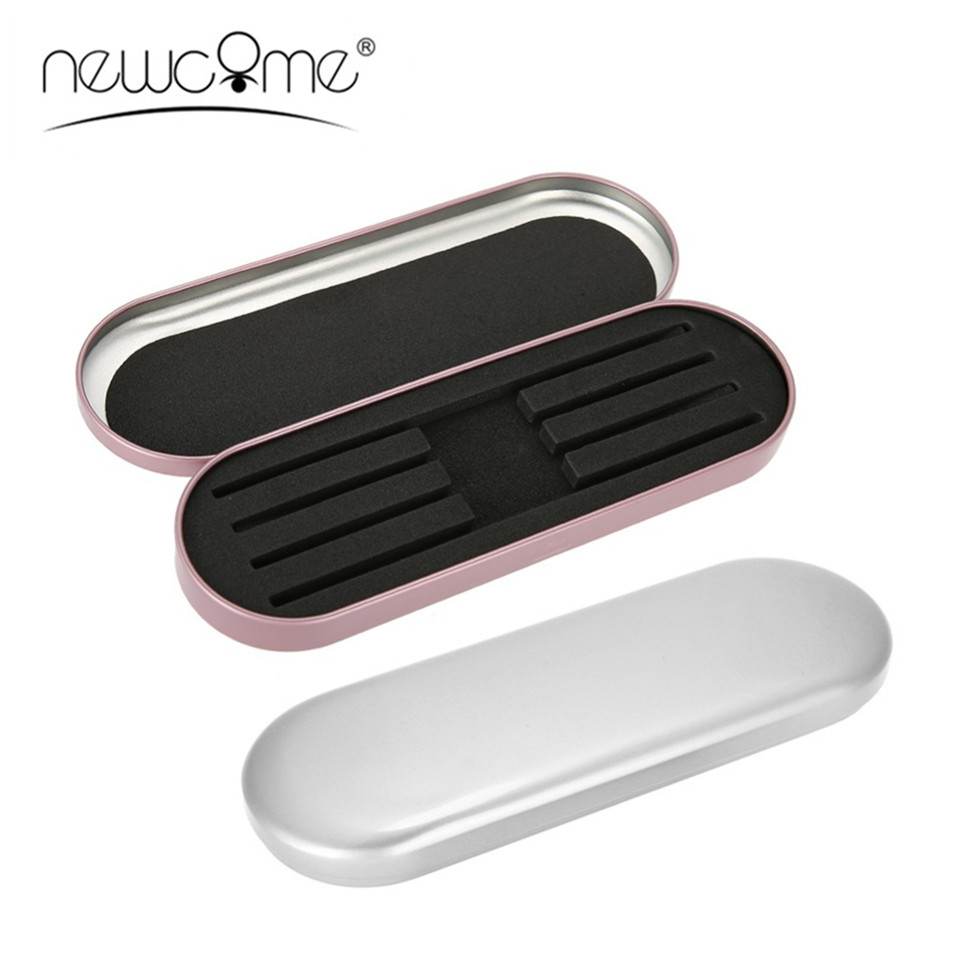 NEWCOME Professional Silver/Pink Tweezers Tinplate Storage Box Organizer Case For Eyelash Extension Salon Makeup Tools