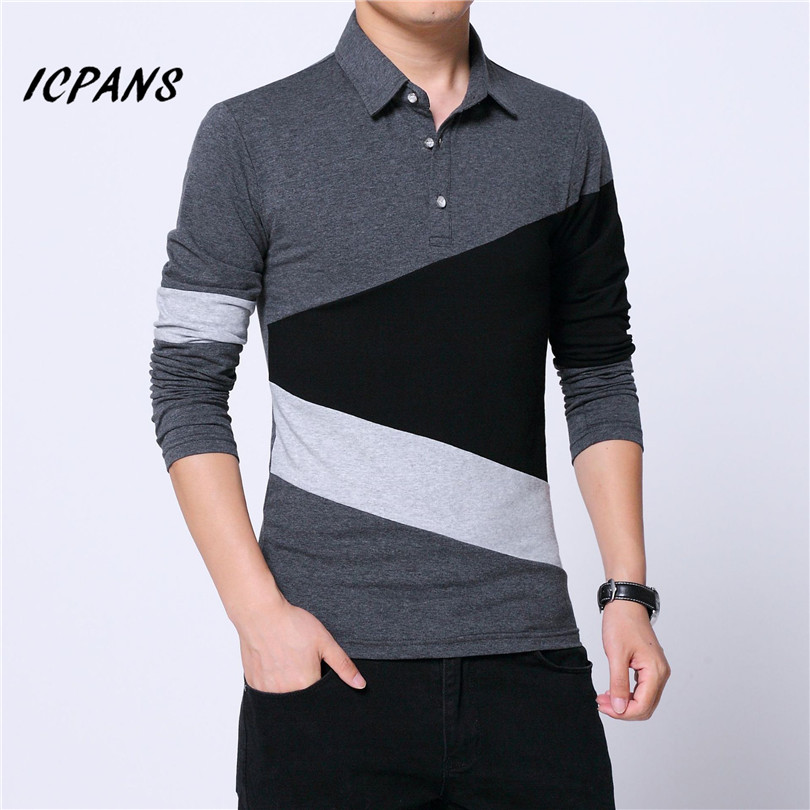 ICPANS   Polo   Shirts Men Long Sleeve Cotton   Polo   Shirts Men Fashion Hot Sale Big Size 5XL Black 2018 Casual   Polo   Shirts for Men