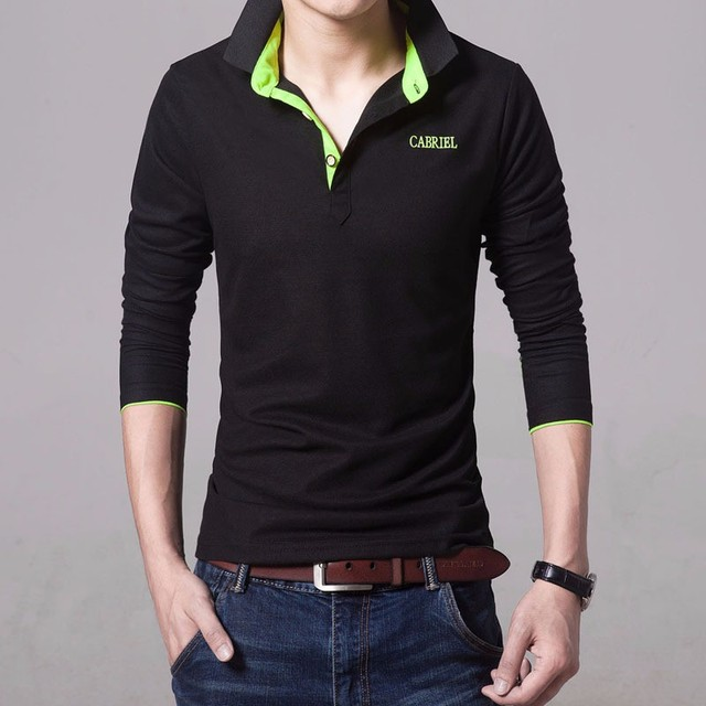 2017 Spring Brand Men Polo shirt Solid Color Long-Sleeve Slim Fit Shirt Men Cotton polo Shirts Casual Shirts black blue 4