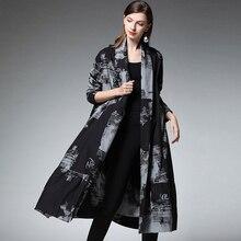 Plus size womens casual fashion printing long shirts cardigan Elegant loose blouse Large ladies turn down collar top black