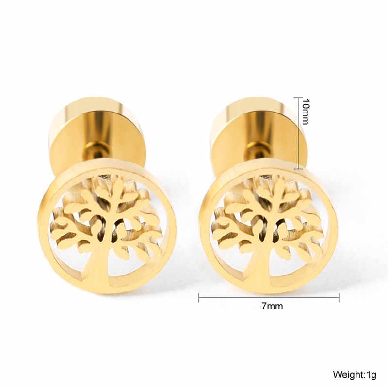 New Tree of Life สแตนเลสต่างหูสำหรับผู้ชายผู้หญิงไม่สมมาตรต่างหูเครื่องประดับป้องกันโรคภูมิแพ้ต่างหู