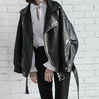 Loose Turn-down Collar Zipper Black PU Leather Jacket 4