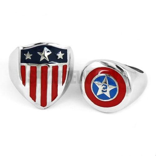 Captain America Shield Ring Stainless Steel Jewelry Fashion Pentagram Shield Motor Biker Men Ring Wholesale SWR0565A