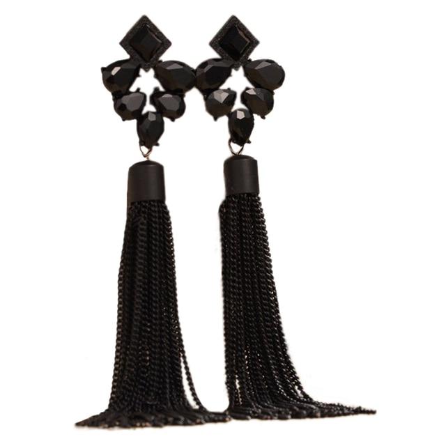 8e605925984021 Fashion Bohemia Style Long Tassel Earrings For Personality Women Water Drop  Rhinestone Large Dangle Earrings Beach Party Brincos