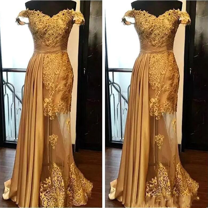 2019 Off The Shoulder Long Evening Dresses Arabic Golden Tulle Applique Ruched Sweep Train Illusion Skirt Formal Evening Gown