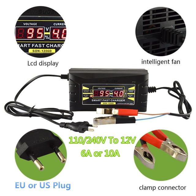 Totalmente Automático Carregador de Bateria de Carro 110 V/220 V Para 12 V 6A 10A Inteligente Poder de Carregamento Para bateria de Chumbo Ácido Seco Molhado rápido Digital Display LCD