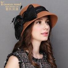 Charles Perra Women Winter Hat Warm Wool Cap New Fashion Elegant Bowknot England Lady Fedoras Casual Female Beret 5608