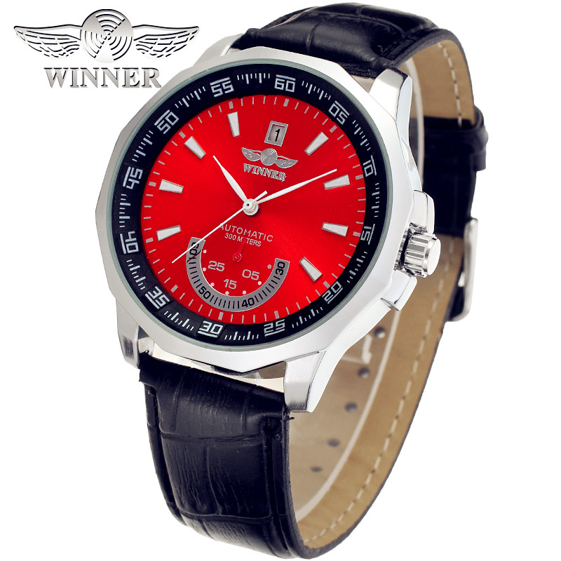 Fashion WINNER Men Luxury Brand Leather Strap Date Display Watch Automatic Mechanical Wristwatches Gift Box Relogio Releges 2016 fashion winner men luxury brand date leather band casual watch automatic mechanical wristwatches gift box relogio releges 2016