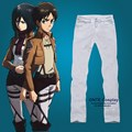 Attack on Titan Cosplay Pants Eren Long Skinny Trousers Daily Men Elastic Jeans