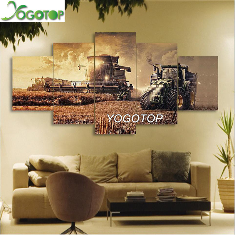 YOGOTOP Diamond Painting On Farm Tractor landscape Pictures drill Rhinestones 5pcs full embroidery mosaic Needlework art ML747 in Diamond Painting Cross Stitch from Home Garden