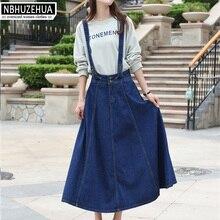 Nbhuzehua t855 3xl 4xl 5xl mujeres Denim suspender Falda larga Falda  plisada coreana casual Jean recto Faldas más tamaño fd1631a651c3