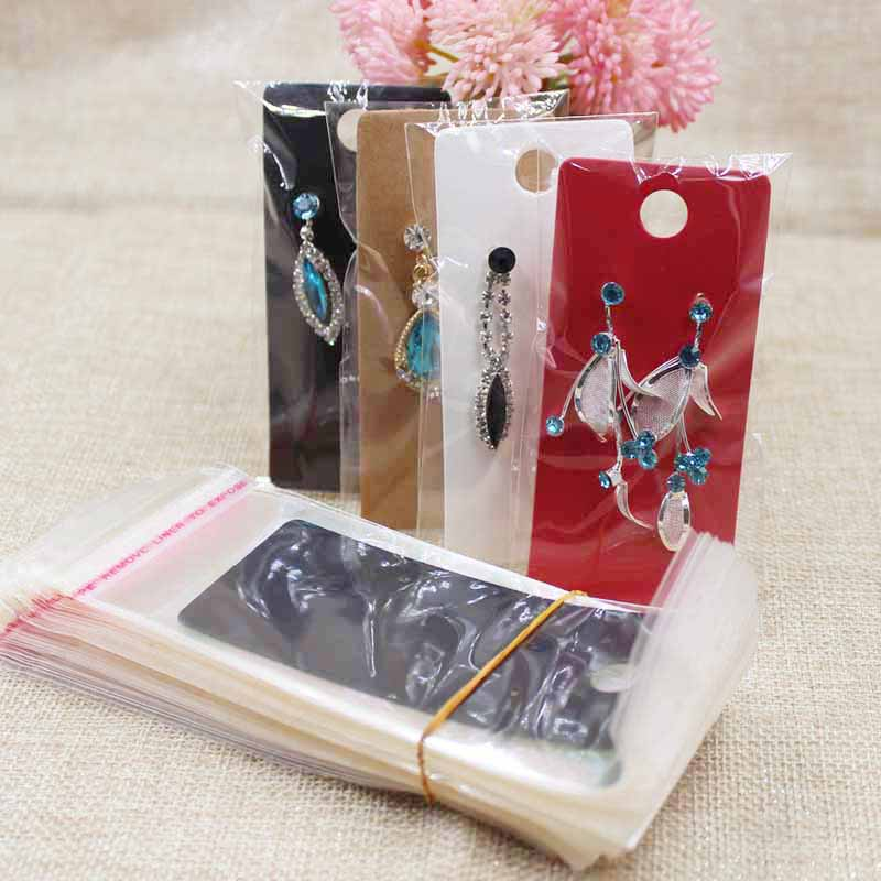 4*9cm Kraft/black /white/hotpink  Paper Jewelry Decorative Display Card  Earring Package Hang Tag Card100pcs +100opp Bag