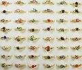 20 штук кольца оптом оптовая партия ювелирные изделия золотой цвет Женщины кольцо горный хрусталь обручальные кольца LB119 - фото