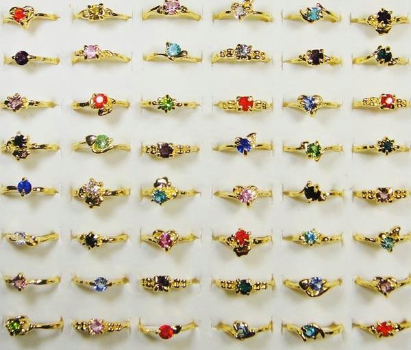 20pcs Wholesale Ring Bulk Lots Jewelry Fashion Gold Color Womens Ring Rhinestone Wedding Rings LB119