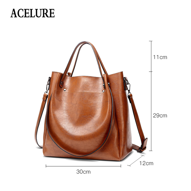 ACELURE Casual Large Capacity Women Tote Shoulder Bag PU Leather Ladies Bucket Handbag Messenger Bag Soft Shopping Crossbody Bag 1