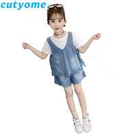 3pcs Kids Clothes Set Teenage Girls Pure Cotton T Shirt+Denim Loose Vest+Jeans Short Pants Girls Casual Outfits Sports Suit 9 13