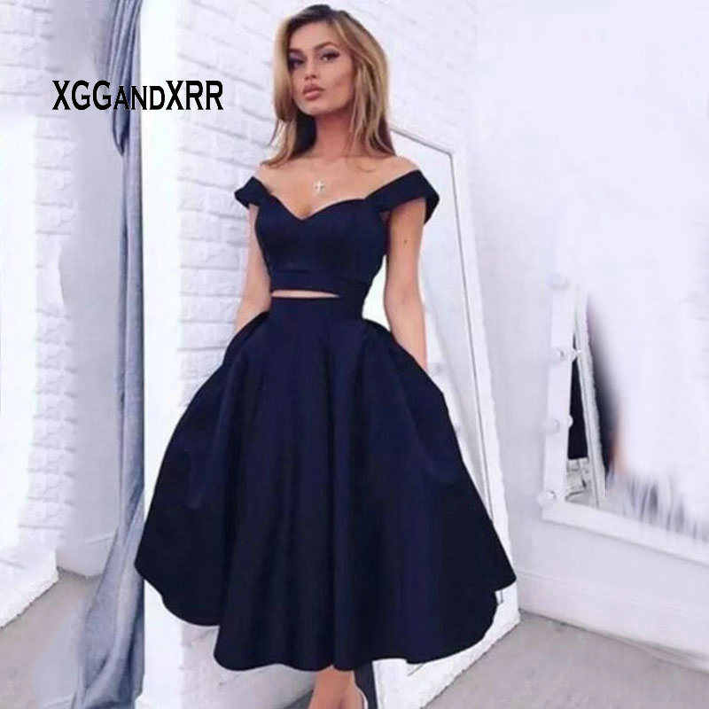 78a806f70de9 ... Abendkleider Navy Blue 2 Piece Short Prom Dresses Cheap Satin Knee  Length Homecoming Dress Imported Sexy ...