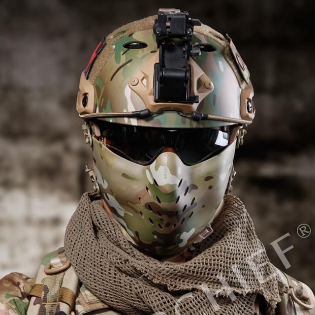 Nova Face da Malha Máscara Tático Rosto Escudos Filme Festa Camo Combate Fantasma Máscara Airsoft Caça Militar Capacetes