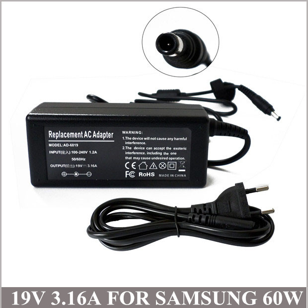 19V 3.16A 60W AC Adapter Laptop Battery Charger Plug For Samsung Series 5 Chromebook XE500C21-H01US SPA-830E/EUR SPA-830E/UK