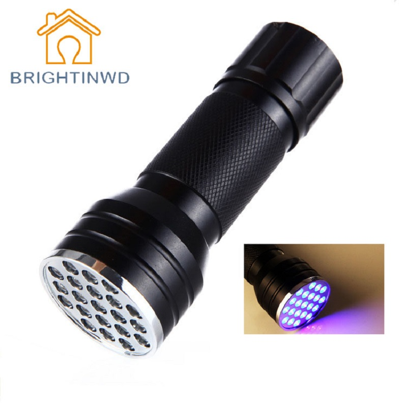 21 LED UV Flashlight Blacklight Torch Aluminum Alloy 395-410nm UV Glue Curing Invisible Ink Marker Lamp For Check BRIGHTINWD